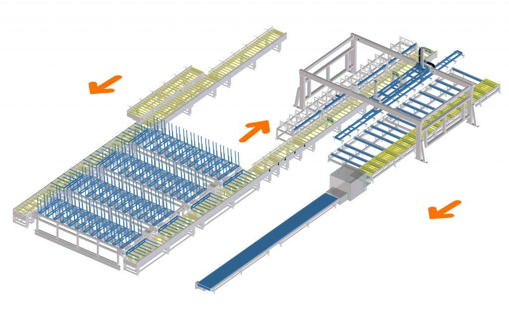 Impianto scarico pannelli in poliuretano