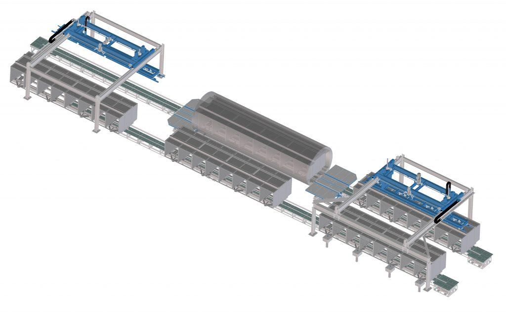 Impianto carico e scarico autoclave
